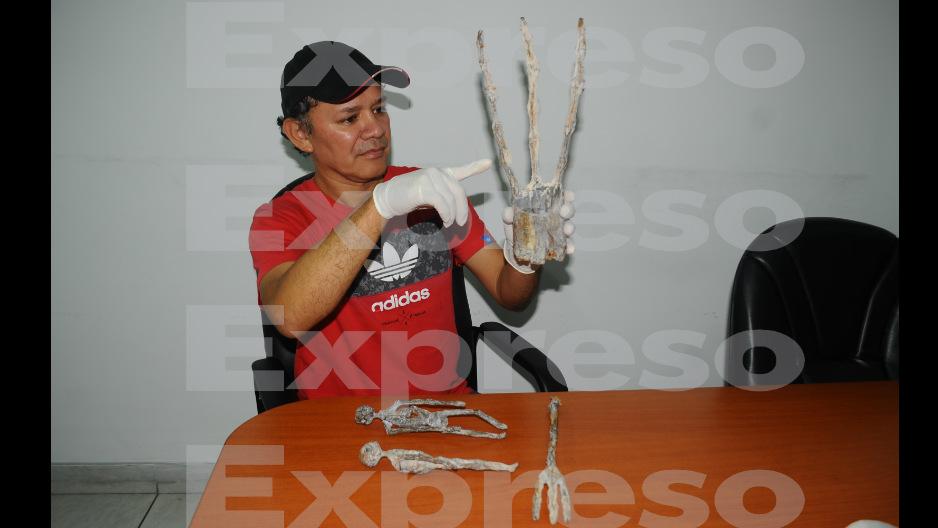 Descubren piezas armadas con restos humanos en Nasca
