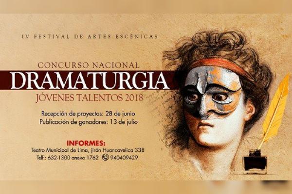 Municipalidad de Lima anuncia Concurso Nacional de Dramaturgia para Jóvenes Talentos 2018