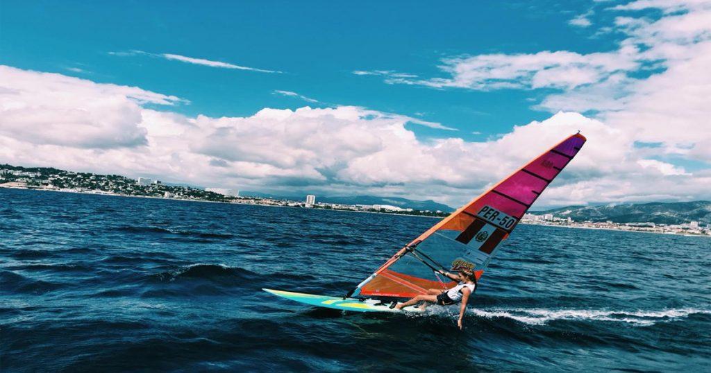 María Belén Bazo en la final de la Copa del Mundo de Windsurf
