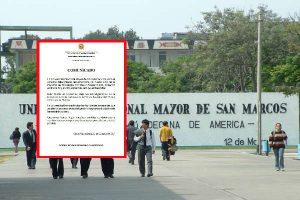San Marcos: Universidad se pronuncia tras muerte de estudiante