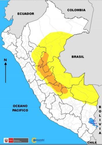 SENAMHI pronostica lluvias intensas en selva central y sur