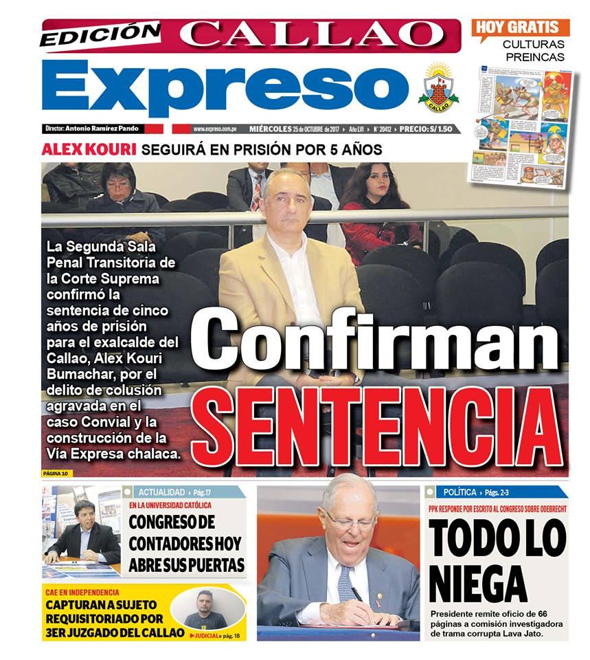 PORTADA EXPRESO CALLAO 26/10/2017