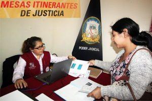 CSJC: Demandas de alimentos y violencia familiar en mesa de justicia itinerante
