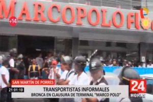 SMP: Clausuran terminal terrestre Marcopolo [VÍDEO]