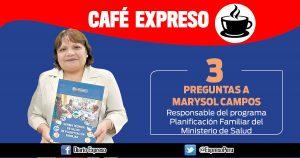 """Marysol Campos: """"Jóvenes prefieren anticonceptivos inyectables"""""""