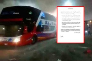 Empresa de transporte del bus incendiado se pronuncia mediante un comunicado