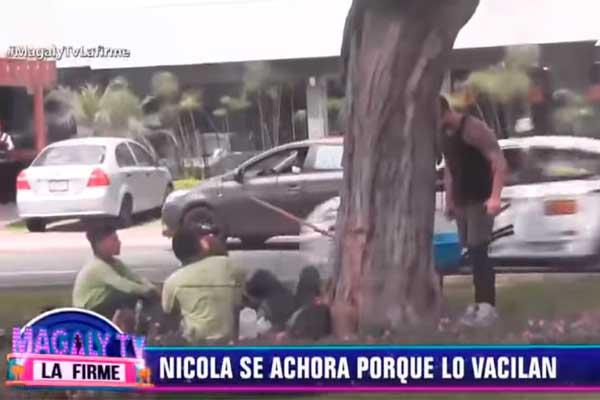 Nicola Porcella se enfrenta a jardineros [VÍDEO]