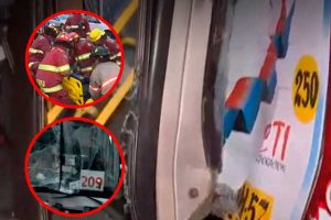 Surco: Violento choque entre Corredor Rojo y un transporte público dejó 4 heridos