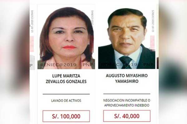 Ofrecen recompensa por Lupe Zevallos y el excalcalde de Chorrillos