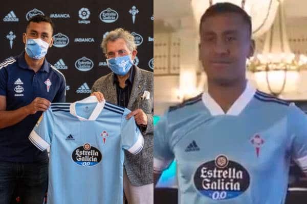 Renato Tapia fue presentado en Celta de Vigo y posó con su nueva camiseta