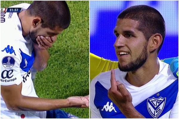 Luis Abram perdió un diente durante el partido entre Vélez Sarsfield vs. Universidad Católica de Chile