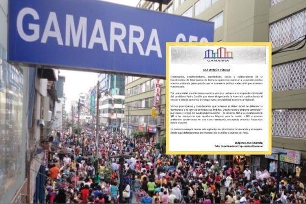 Coordinadora de Empresarios de Gamarra manifiesta su «enérgico rechazo a propuesta dictatorial de Pedro Castillo»