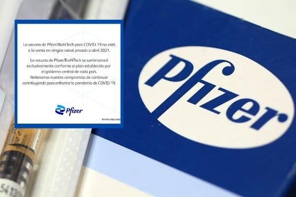 Vacunas anticovid de Pfizer no están a la venta en empresas privadas, remarcó farmacéutica