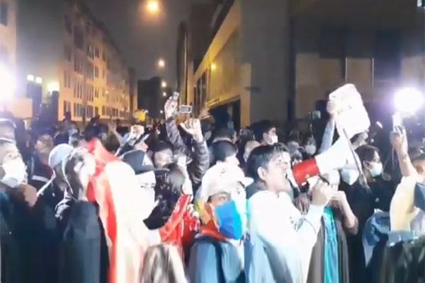 Perú Libre: registran manifestaciones de simpatizantes afuera de la ONPE