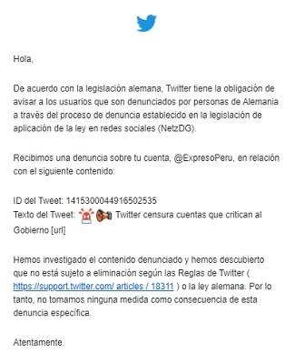 Notificación de Twitter a Expreso